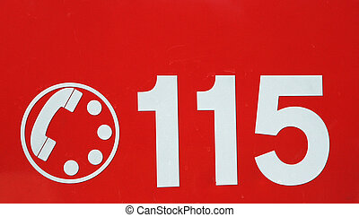 telephone number 115 on red background of the fire brigade...
