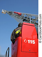 highest platform of a fire truck during a practice session...