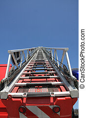 ladder of firefighters during an emergency to save the...