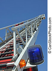 stair riser and blue truck Siren of firefighters during an...