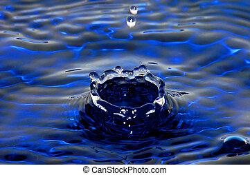 Deep water coronet - A macro shot of a water drop hitting...