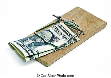 one dollar bill in a mousetrap on a white background