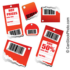 Sales Tag with Barcode - Red Sales Tag with Space for text...
