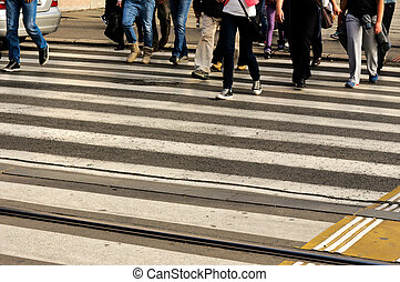 Pedestrian crossing - People crossing the pedestrian...