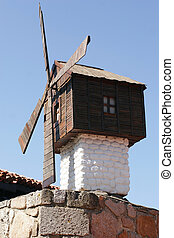 Old wooden mill in Nessebur Bulgaria. Close up