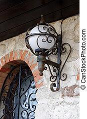 old lantern in Old Nessebar. Vintage - old lantern in Old...