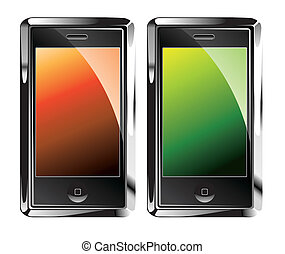 Isolated Touch Screen Smartphones - Colorful glossy Isolated...