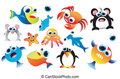 Funny Animals Set - A complete colorful set of funny cartoon...
