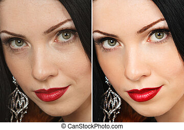 Beautiful woman - Face of woman before and after retouch