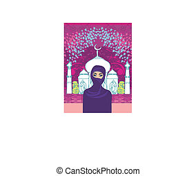 Vector illustration of a young beautiful muslim women