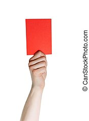 hand holding a red card - a hand holding a red card,...