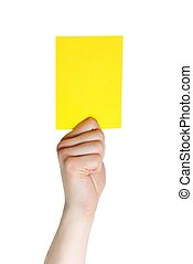hand holding a yellow card sports, isolated on white