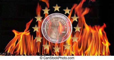 Euro coin - Cyprus euro coin in flames