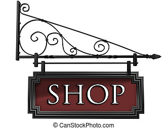 Isolated shop sign - Illustration of an isolated antique...