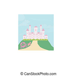 horse carriage and castle