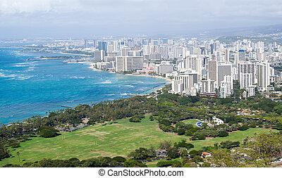 Panorama of sea front at Waikiki