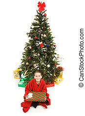 Christmas Tree and Boy - Adorable little boy sitting under...