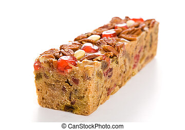Holiday Fruit Cake Isolated - Moist, delicious Christmas...