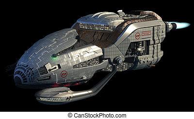 Futuristic 3D spaceship - Fantasy 3D model of futuristic...