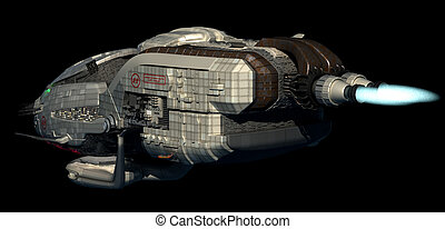 3D spaceship in deep space travel - Fantasy 3D model of...