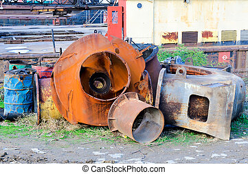 Old junk - Old pipes and barrels as junk