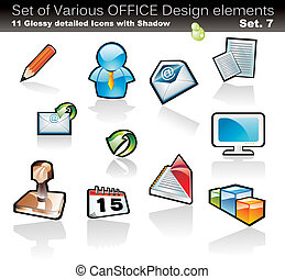 Design Element Office Collection - Set of Office Abstract...