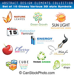 Glossy 3D set of design Elements - Collection of 3D Design...