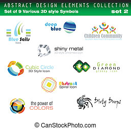 Set of 3D Design Elements - Collection of 3D Design Elements...