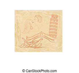 kissing couple in italy - vintage card