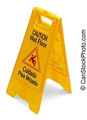 Caution Wet Floor Sign - Yellow Plastic Caution Wet Floor...