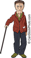 Old Man with Cane - A cartoon of a sad old man wearing a red...