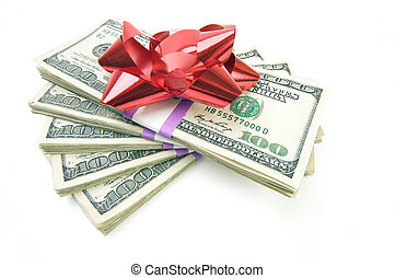 Stack of Money with Bow Isolated on a White Background.