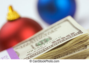 Money and Ornaments - Money and Christmas Ornaments with...