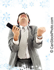 achievement - happy businessman with cellular phone and...