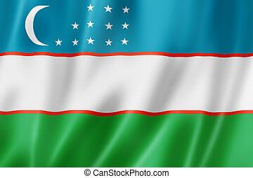 Uzbekistan flag, three dimensional render, satin texture