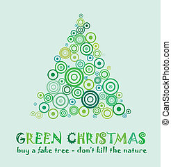 Green Christmas Card to celebrate and Eco 25th december with...