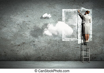 Business woman on ladder - Businesswoman standing on ladder...