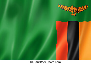 Zambian flag - Zambia flag, three dimensional render, satin...