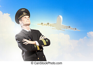 Image of male pilot with airplane at background