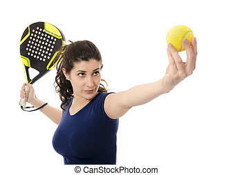 Female paddle tennis. - Female paddle tennis woman