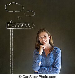 Business woman and chalk success st - Business woman with...