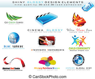2D and 3D Design Element Collection with colorful Shiny...