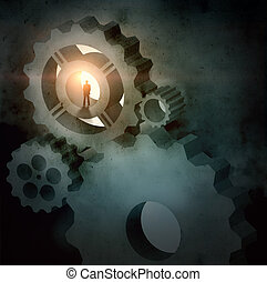 Businessman silhouette in picture of mechanism - Image of...