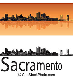 Sacramento skyline in orange background in editable vector...