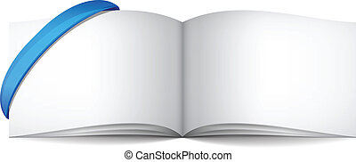 Empty white books with ribbon vector illustration