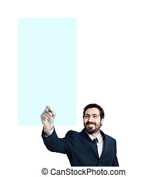 business man writing on imaginary screen on white background