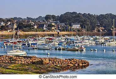 Port in Brittany - Port of yachts in Brittany (Ploumanach)...