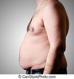 belly fat man on gray background