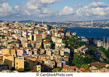 Istanbul and Bosphorus panorama - View from Galata tower to...