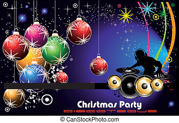 Disco Party Flyer background for Christmas - Christmas...
